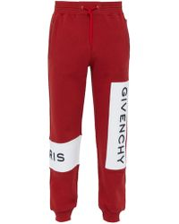 Givenchy - Logo Embroidered Cotton Track Pants - Lyst