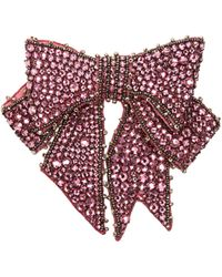 Gucci | Crystal Bow Brooch In Pink | Lyst
