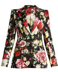 Dolce & Gabbana - Floral-print Peak-lapel Blazer - Lyst
