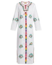 Muzungu Sisters - Jasmine Floral-embroidered Cotton Dress - Lyst