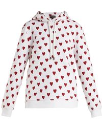 Burberry - Heart-print Cotton-blend Hooded Sweatshirt - Lyst