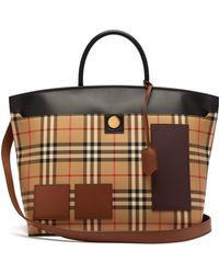 69e28177ca58 Burberry Large House Check And Leather Bowling Bag in Brown - Lyst