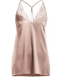 Fleur Of England - Silk-blend Babydoll Slip Dress - Lyst