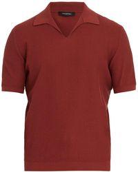 Ermenegildo Zegna - Open-collar Waffle-knit Cotton Polo Shirt - Lyst
