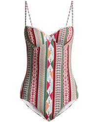 Le Sirenuse - Amanda Arlechino Print Sweetheart Neck Swimsuit - Lyst