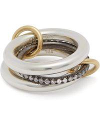 Spinelli Kilcollin - Libra Noir 18kt Gold, Silver & Diamond Ring - Lyst