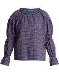 M.i.h Jeans - Long-sleeved Gingham Cotton-blend Top - Lyst