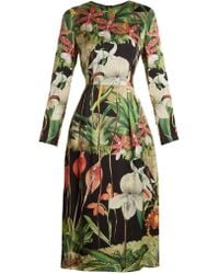Adam Lippes - Orchid-print Long-sleeved Silk-satin Dress - Lyst