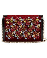 Christian Louboutin - Vanite Flower-embroidered Velvet Clutch - Lyst