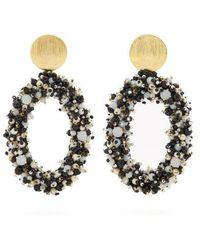 Carolina Herrera - Bead-embellished Hoop-drop Earrings - Lyst