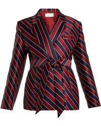 Sara Battaglia - Striped Tie-waist Double-breasted Satin Blazer - Lyst