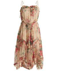 Zimmermann - Laelia Floral-print Silk Dress - Lyst