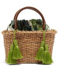 Glorinha Paranagua - Palermo Canvas And Wicker Basket Bag - Lyst