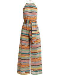 Missoni - Zigzag-striped Lamé Jumpsuit - Lyst