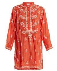 Juliet Dunn - Floral-embroidered Silk Shirtdress - Lyst
