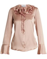 Luisa Beccaria | Ruffled Tie-neck Silk-blend Satin Blouse | Lyst