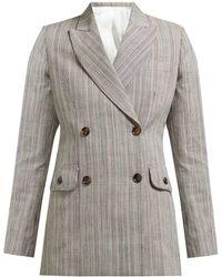 JOSEPH Moore Double Breasted Cotton Blend Check Blazer