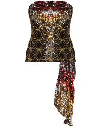 Halpern - Sequinned Asymmetric Draped Bustier Top - Lyst