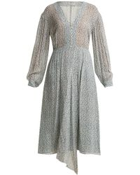 MASSCOB - Amalfi Print Button-front Floral-print Silk Dress - Lyst