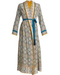 Talitha - Maghreb-print Silk-crepe Robe - Lyst