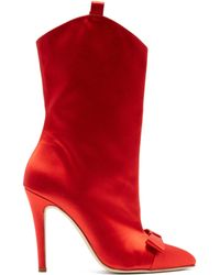 Alessandra Rich - Bow Embellished Western Style Ankle Boots - Lyst