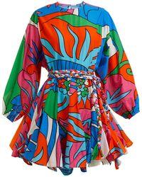 Rhode Resort - Ella Floral-print Tie-waist Cotton Dress - Lyst
