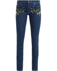 Gucci | Floral-embroidered Mid-rise Skinny-leg Jeans | Lyst