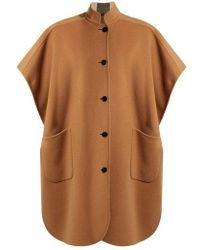 Burberry - - Reversible Wool Blend Poncho - Womens - Camel - Lyst