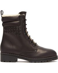 Bottega Veneta - Shearling Lined Leather Combat Boots - Lyst