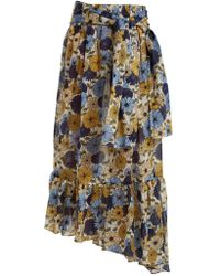 Lisa Marie Fernandez - Nicole Floral-print Asymmetric-hem Skirt - Lyst