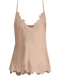 Carine Gilson - Lace Trimmed Silk Satin Cami Top - Lyst
