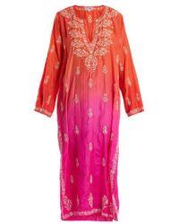 Juliet Dunn - Floral Embroidered Ombré Silk Kaftan - Lyst