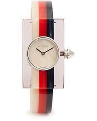 b90cf33bc9e Lyst - Gucci Sync Unisex Swiss Black Striped Rubber Strap Watch 36mm ...