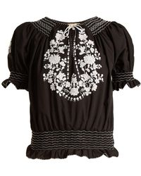 Muzungu Sisters - Dora Embroidered Cotton Blouse - Lyst