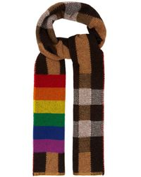 Burberry - Rainbow Striped Checked Cashmere Scarf - Lyst