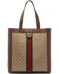 Gucci - Gg Supreme Leather And Canvas Tote - Lyst