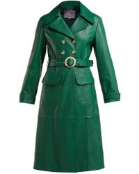 ALEXACHUNG - Double Breasted Belted Leather Trench Coat - Lyst