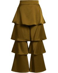 Felix Tiered Satin-Crepe Trousers Osman