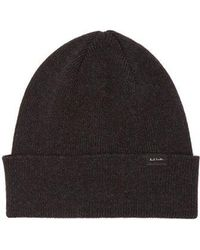 Paul Smith - - Ribbed Knit Lambswool Beanie Hat - Mens - Dark Grey - Lyst