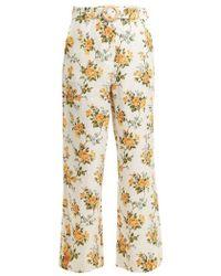 Zimmermann - Golden Crop Kick-flare Linen Trousers - Lyst