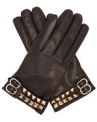 Valentino - - Rockstud Leather Gloves - Womens - Black - Lyst