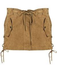 Saint Laurent - Laced Suede Mini Skirt - Lyst