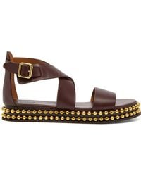 Chloé - Beaded Flatform Leather Sandals - Lyst