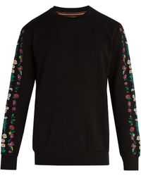 Paul Smith - Floral-embroidered Cotton-jersey Sweatshirt - Lyst