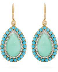 Irene Neuwirth - 18kt Gold, Chrysoprase & Turquoise Earrings - Lyst