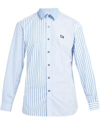 Burberry - Logo Embroidered Striped Cotton Shirt - Lyst