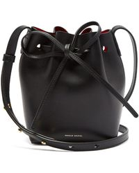 Mansur Gavriel - Mini Mini Bag In Black And Flamma Vegetable Tanned Leather - Lyst