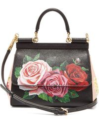 da553bf9ea3 Dolce & Gabbana - Sicily Small Rose Print Dauphine Leather Bag - Lyst