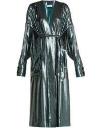Wanda Nylon - V Neck Belted Side Slit Silk Blend Dress - Lyst