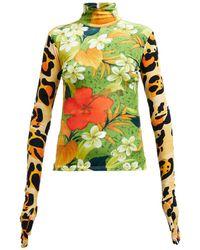 Richard Quinn - Floral Print High Neck Velvet Top - Lyst